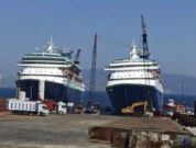 Sovereign And Monarch Cruise Ships At The End Of Their Journey As They Await Scrapping At Turkey