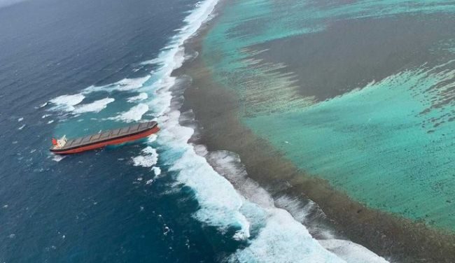 Wakashio Bulk Carrier vessel has hit the coral reefs at Blue Bay in Mauritius