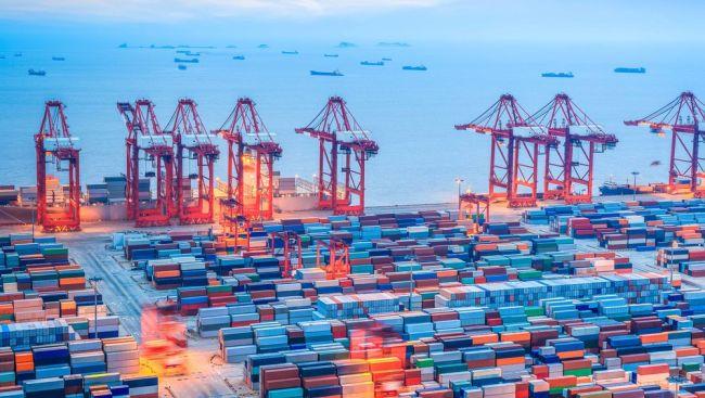 shanghai container terminal at dusk