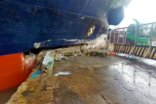 Cargo Vessel Rams Into Manila Harbor