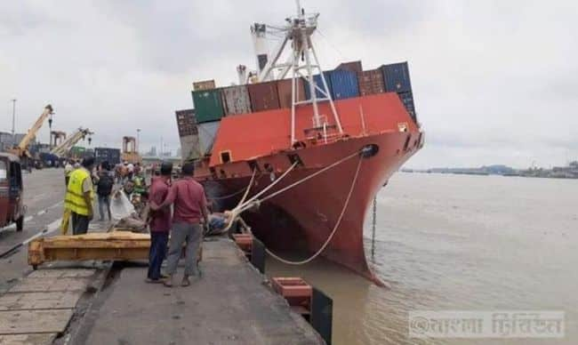 Chittagong port OEL HIND Ship Tilts _ bangla