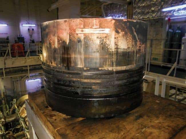 Example of a piston with scuffing and deposits. Photo courtesy of Chevron Marine Lubricants, 2020