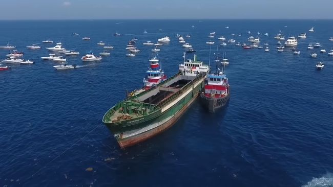 From A Drug Smuggling Freighter to an Artificial Reef-Watch the Transformation of MV Voici Bernadette