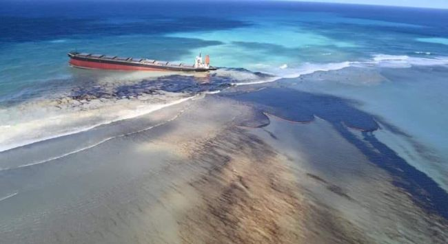 Mauritius Oil Spill Japanese Cargo Ship Grounded