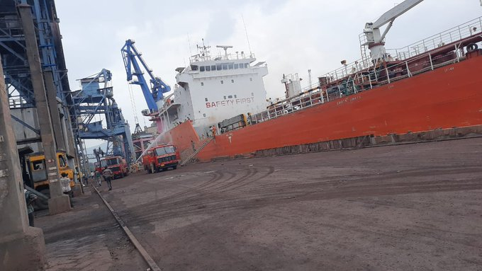 Ship catches fire at Visakhapatnam port