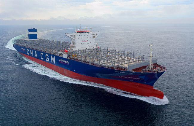 cma cgm tenere sea and gas trial