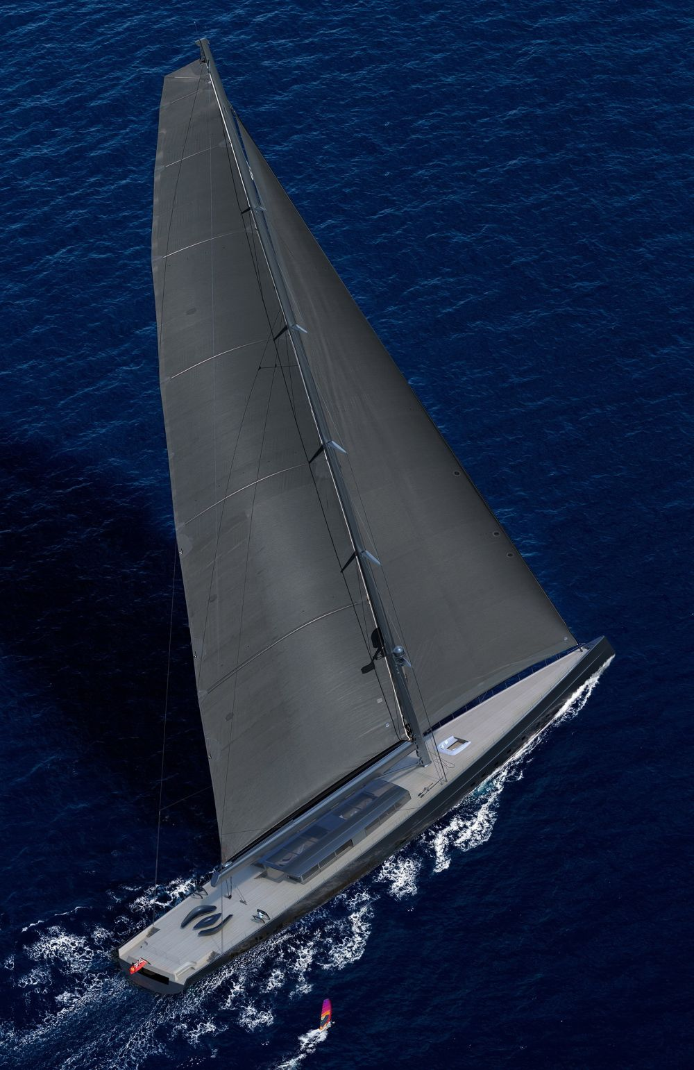 APEX-850 rendering by Solidwave sailing - Royal Huisman Unveiled World's Largest Sloop