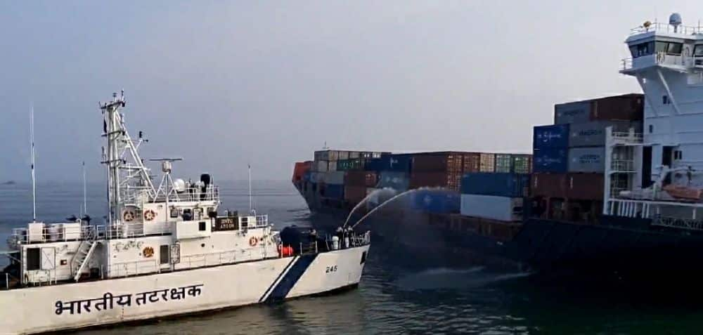 Container Vessel Catches Fire Off West Bengal Coast; Coast Guard Deployed For assistance