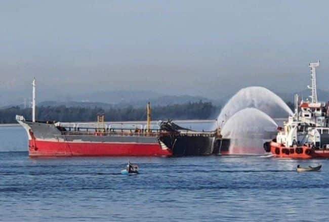 Deadly Explosion Rips Open Product Tanker In Dung Quat Port Area, One Crew Dead - Photo - NgugenNgoc