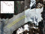 The red area in the optical satellite image shows the ice lost the past two years from the part of the Nioghalvfjerdsfjorden Glacier called Spalte Glacier that calves into Djimphna Sund. An area of 113 km2 has been lost. Source: Copernicus Sentinel data modified by GEUS.
