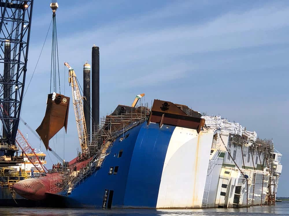 MV Golden Ray Partly Submerged