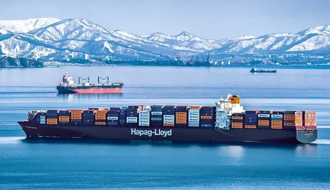 """The """"Hannover Express"""" sailing to Vostochny Port in Russia (photo credit Hapag-Lloyd)"""