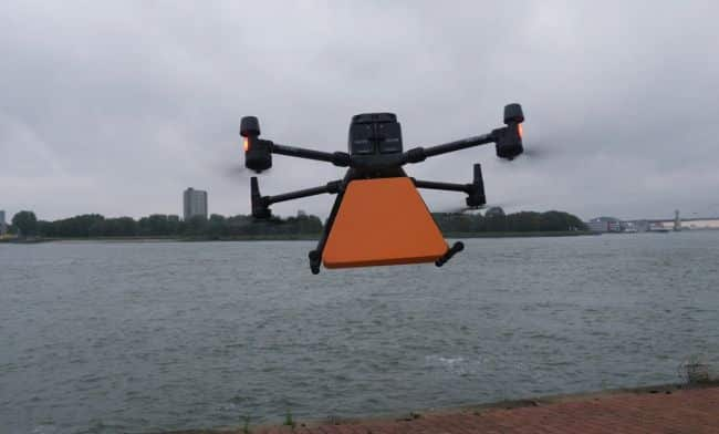 drone delivery on ship rotterdam