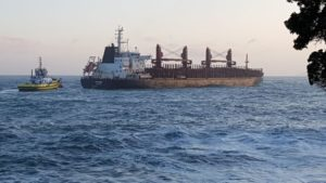 log carrier MV Funing lost its power after leaving Port of Tauranga
