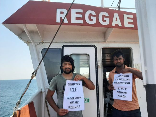 The crew of the MV Reggae were able to recover months of unpaid wages with the assistance of the ITF | SOURCE: ITF