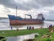 Bangladeshi Merchant Ship Runs Aground On Vizag Beach