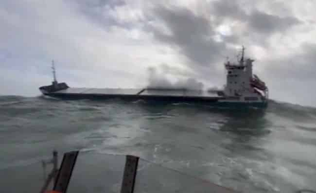 Cargo Ship 'Lily B' Floating Dead In Heavy Seas Rescued