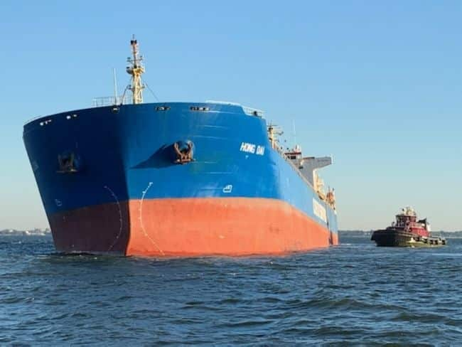 Panamanian flagged 738-foot bulk coal carrier ran aground on a soft sandy bottom Wednesday