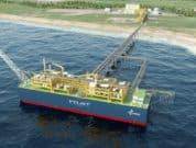 An illustration of Pilot LNG's planned Floating Liquefied Natural Gas (FLNG)-based bunker port for Galveston