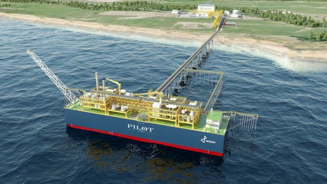 An illustration of Pilot LNG's planned Floating Liquefied Natural Gas (FLNG)-based bunker port for Galveston