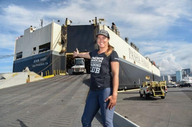 Solo ocean rower Lia Ditton prepares to board commercial ship M/V Jean Anne to travel back to California from Hawaii