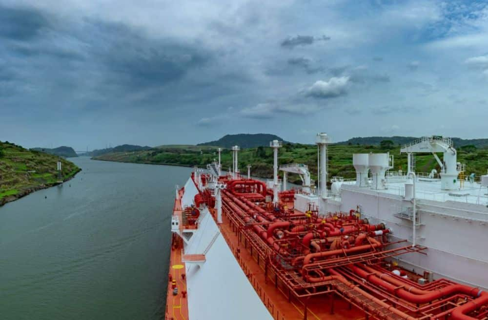 tanker vessel sailing through a channel