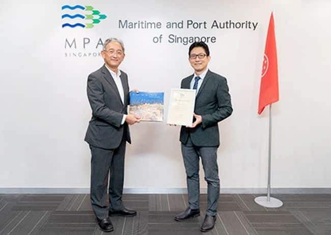 MOL Executive Officer and MOL (Asia Oceania) Managing Director Koichi Yashima, and MPA Director of Shipping Goh Chung Hun