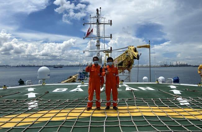 Seafarers working onboard the POSH Bawean in SIngapore