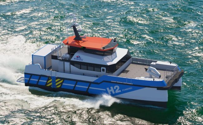 Hydrogen powered crew changing vessel