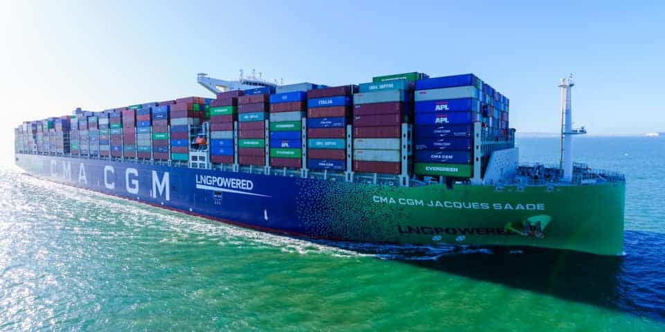 world's largest LNG powered container vessel CMA CGM Jacques Saade
