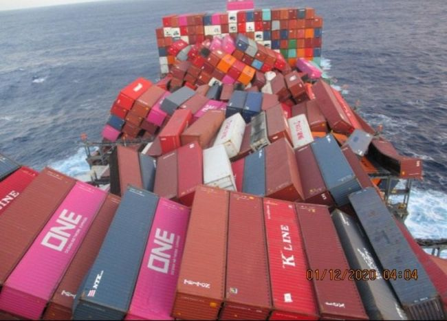 One Apus dislodged containers