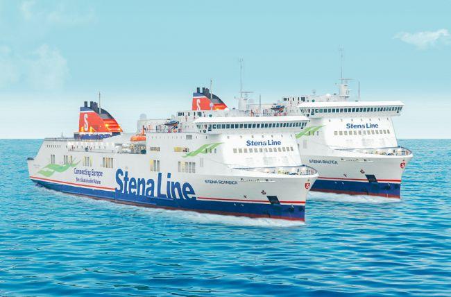 Photo montage Stena Lines nya Östersjöfärjor med de nya namnen Stena Scandica och Stena Baltica