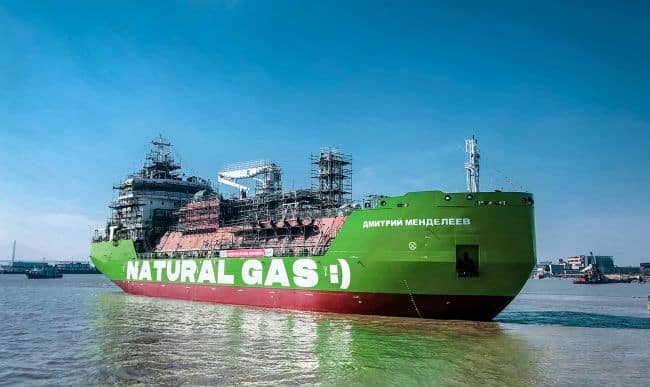 Russia's First Cargo And Passenger STS LNG-Bunkering Vessel Set Afloat