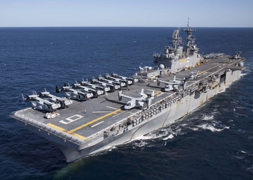 INDIAN OCEAN (July 3, 2015) The amphibious assault ship USS Bonhomme Richard (LHD 6) conducts air operations off the western coast of Australian. Bonhomme Richard is the lead ship of the Bonhomme Richard Expeditionary Strike Group and is on patrol in the U.S. 7th Fleet area of operations.