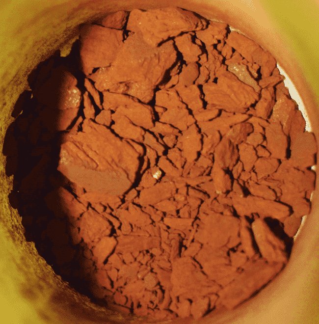 An example of the red deposits analysed at Chevron laboratories