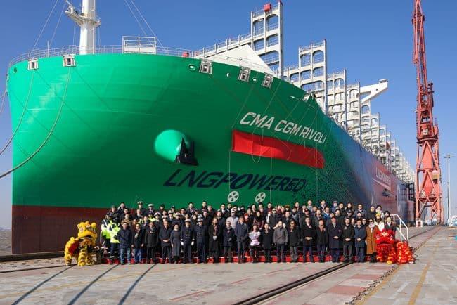 CMA CGM Receives Hudong-Zhonghua Built Third 23000 TEU Dual-Fuel Container Ship