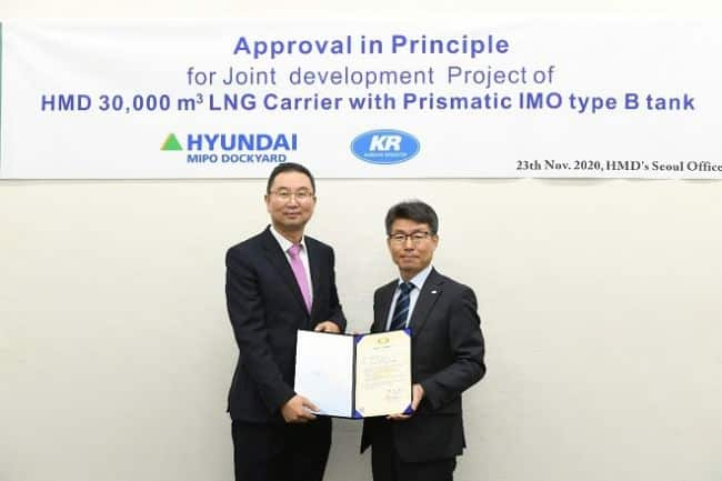 KR Grants AIP To HMD For 30,000m3 LNG Carrier With Prismatic IMO Type-B Tank