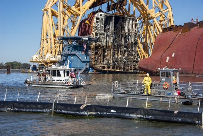 Responders Remove Section Eight Of MV Golden Ray Wreck