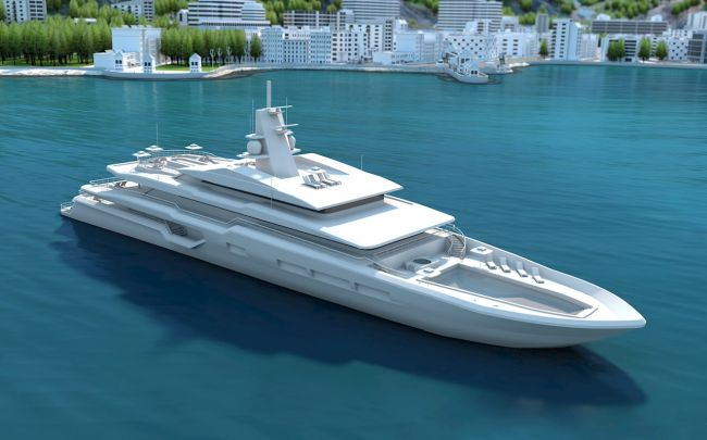 Sustainable superyacht concept illustration
