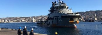 Chilean Navy Ship Janequeo, Built By Indian Company Larsen And Toubro Ltd., Sails Into Valparaíso Harbour