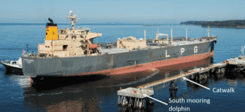 a tanker of similar size to the Levant, is seen docking starboard side to the Petrogas Wharf in Ferndale