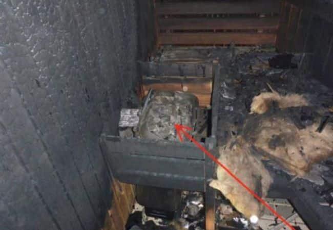 Burned sauna and heater