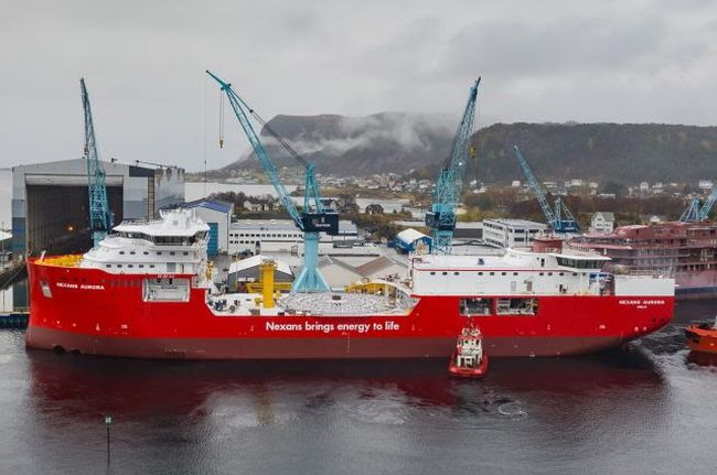 Cable-laying vessel Nexans Aurora, featuring the MissionEase system incorporated in the hull,