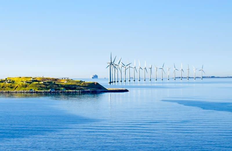 Green offshore wind mills renewable representation image