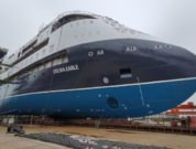 Launching-of-the-Sylvia-Earle-expedition-cruise-vessel-of-the-ULSTEIN-CX103-design