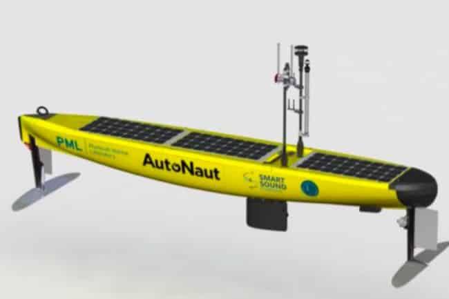 "The AutoNaut-5m USV ""PML Pioneer"