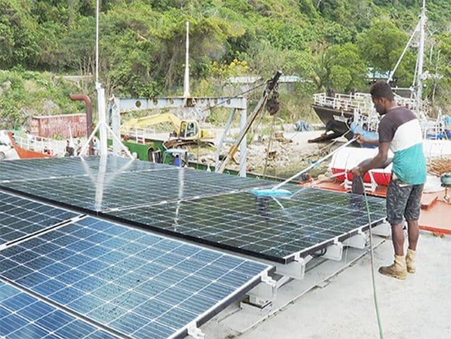 A solar panel retrofitting project for a ferry in the Pacific under the MTCC Pacific showed fuel savings of 32% in operation and 87% reduction in GHG emissions at anchor.