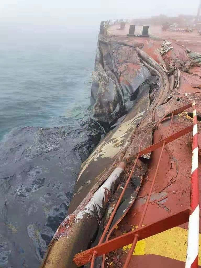 A Symphony Suezmax having a breach of double hull outside Qingdao. - collision