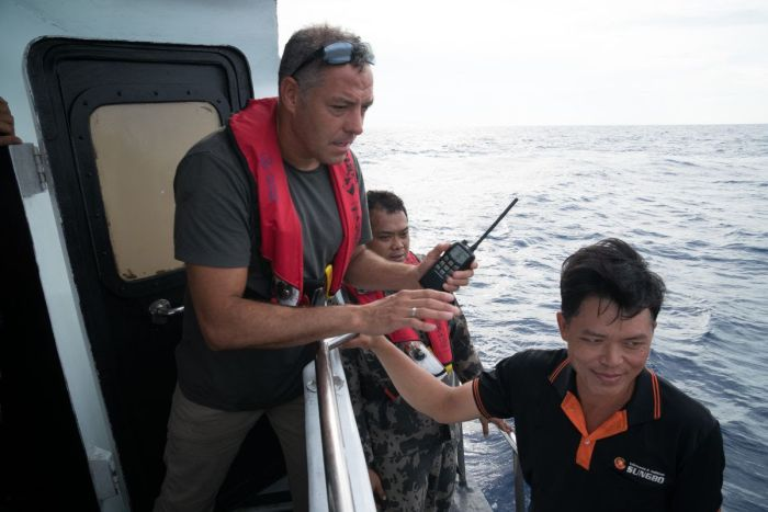 Ian Urbina on a reporting trip in Indonesia. Photo courtesy of the Outlaw Ocean Project, all rights reserved