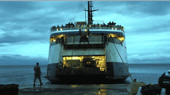 MV Lomaiviti Princess III loads at dusk